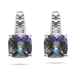 0.01 Ct Diamond & 1.78 Ct Mystic Green Topaz Earrings- 14K White Gold
