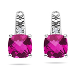 0.01 Cts Diamond & 1.78 Cts Mystic Pink Topaz Earrings -14K White Gold