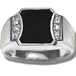 0.06 Cts Diamond & Onyx Men's Ring in 14K Yellow Gold