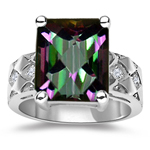 0.06 Ct Diamond & 5.89 Cts AAA Mystic Fire Topaz Ring in 14K White Gold