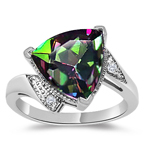 0.02 Ct Diamond & 4.01 Cts AAA Mystic Fire Topaz Ring in 14K White Gold