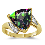 0.02 Ct Diamond & 4.01 Cts AAA Mystic Fire Topaz Ring in 14K Yellow Gold