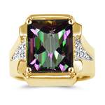 0.02 Cts Diamond & 5.89 Cts Mystic Fire Topaz Ring in 14K Two Tone Gold