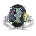 0.02 Ct Diamond & 6.24 Cts Mystic Fire Topaz Ring in 14K White Gold