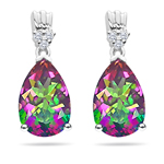 0.08 Cts Diamond & 6.36 Cts Mystic Fire Topaz Earrings- 14K White Gold