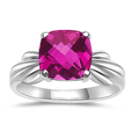 2.12 Cts of 8 mm AA Cushion Checker Board Mystic Pink Topaz Solitaire Ring 14K White Gold