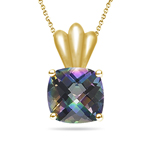 4.01 Ct 10 mm AA Cush Check Mystic Green Topaz Solitaire Pendant-14KY