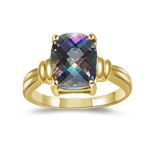 2.65 Cts of 10x8 mm AA Cushion Checker Board Mystic Fire Topaz Solitaire Ring in 14K Yellow Gold