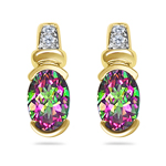 0.04 Cts Diamond & 1.62 Cts Mystic Green Topaz Earrings in 14KY Gold