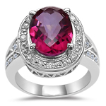 0.12 Cts Diamond & 2.95 Cts Mystic Pink Topaz Ring in 14K White Gold