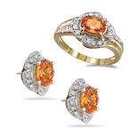 0.39 Ct Diamonds & 2.73 Ct Orange Sapphire Jewelry Set-18K Yellow Gold