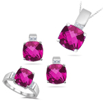 0.19 Ct Diamonds & 6.36 Cts Pink Topaz  Set in 14K White Gold