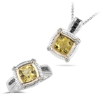 2.84 Ct Black & White Diamond, Yellow Beryl Jewelry Set- Silver & Gold