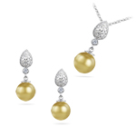 1.00 Ct Diamond & South Sea Golden Pearl Set in 14K White Gold