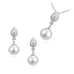 1.00 Ct Diamond & Akoya Pearl Set in 14K White Gold