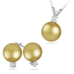 Golden South Sea Pearl and Diamond Jewelry Set in 18K White Gold