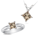 1.14 Cts Brown Diamond Jewelry Set in 14K White Gold