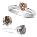 1.08 Cts Brown Diamond Jewelry Set in 14K White Gold