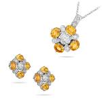 3.48 Ct Mandarin Garnet & 0.36 Ct Diamond Jewelry Set - 14K White Gold