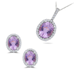 9.00 Cts Kunzite & 0.59 Cts Diamond Jewelry Set in 14K White Gold