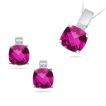 10.40 Cts Pink Topaz & 0.11 Cts Diamond Jewelry Set in 14K White Gold