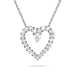 0.60 Cts Diamond Heart Journey Pendant in 14K White Gold