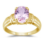 2.65 Cts 10x8 mm AA Oval Kunzite Solitaire Ring in 14K Yellow Gold