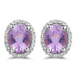 0.37 Cts Diamond & 6.00 Cts Kunzite Earrings in 14K White Gold