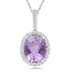 0.22 Ct Diamond & 3.00 Ct Kunzite Pendant in 14K White Gold