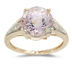 Kunzite Ring - 0.05 Ct Diamond & Kunzite Ring in 14K Gold
