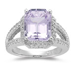 Kunzite Ring - 0.56 Ct Diamond & Kunzite Ring in 14K Gold
