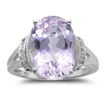 0.03 Cts Diamond & 7.00 Cts Kunzite Ring in 14K White Gold