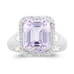 0.18 Ct Diamond & 7.50 Cts Kunzite Ring in 14K White Gold