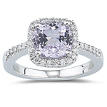 0.27 Ct Diamond & 2.60 Cts Kunzite Ring in 14K White Gold