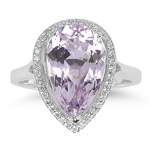 0.19 Cts Diamond & 6.70 Cts Kunzite Ring in 14K White Gold