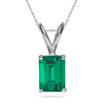 8.65-9.42 Cts of 16x12 mm AAA Emerald-Cut Russian Lab Created Emerald Solitaire Pendant in 14K White Gold