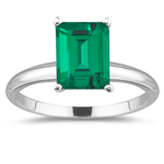 2.00 Cts of 9x7 mm AAA Emerald Russian Lab Created Emerald Solitaire Ring in 14K White Gold