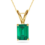 0.74-0.96 Cts of 7x5 mm AAA Emerald Russian Lab Created Emerald Solitaire Pendant in 14K Yellow Gold
