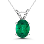 0.68-0.75 Cts of 7x5 mm AAA Oval Russian Lab Created Emerald Solitaire Pendant in 14K White Gold