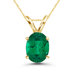 1.58-2.00 Cts of 9x7 mm AAA Oval Russian Lab Created Emerald Solitaire Pendant in 14K Yellow Gold