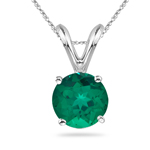0.66 Cts 5.5 mm Round Russian Lab Created Emerald Solitaire Pendant in 14K White Gold