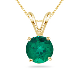 2.93-3.10 Cts of 10 mm AAA Round Russian Lab Created Emerald Solitaire Pendant in 14K Yellow Gold