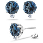 0.04 Ct Diamond &  0.54 Ct London Blue Topaz Earrings in Platinum