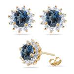 0.72 Ct Diamond &  1.78 Ct London Blue Topaz Earrings in 14K Yellow Gold