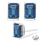 2.92 Ct London Blue Topaz Stud Earrings in Platinum