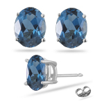 10.70 Ct London Blue Topaz Stud Earrings in 14K White Gold