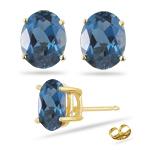10.70 Ct London Blue Topaz Stud Earrings in 14K Yellow Gold