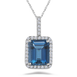 0.34 Cts Diamond & 6.87 Cts London Blue Topaz Pendant in Platinum