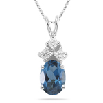 0.09 Cts Diamond & 6.24 Cts London Blue Topaz Pendant in Platinum