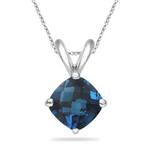 4.01 Cts London Blue Topaz Solitaire Pendant in Platinum